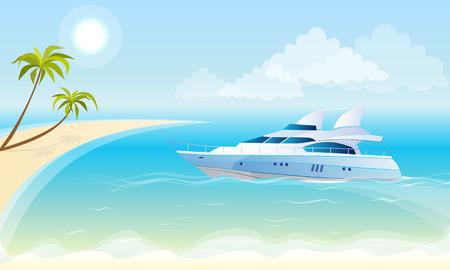 Vector illustratie van een luxe jacht op de achtergrond van de zee, blauwe lucht, strand en palmbomen