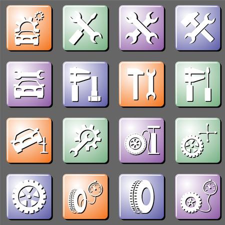 Auto service en autoreparaties, een set van vector iconen