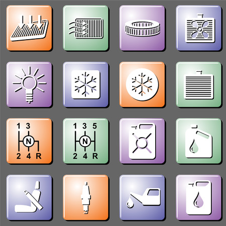 Car service and car repairs, a set of vector icons