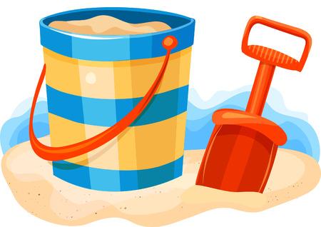 Shovel and Pail on Beach Illustration