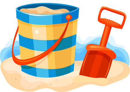 Shovel and Pail on Beach Banco de Imagens - 32675131