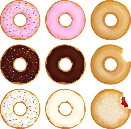 Various Donuts 向量圖像