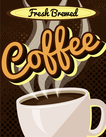 Vintage Retro Fresh Brewed Coffee Sign