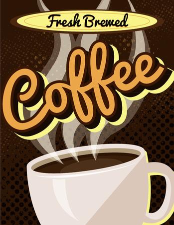brewed: Vintage Retro Fresh Brewed Coffee Sign