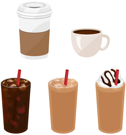 coffees: Hot and Iced Coffees Illustration