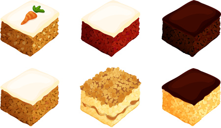 Cake Square Slices Illustration