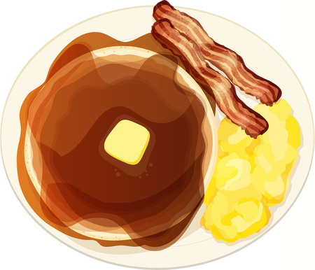 Pancake, Eggs, and Bacon Breakfast