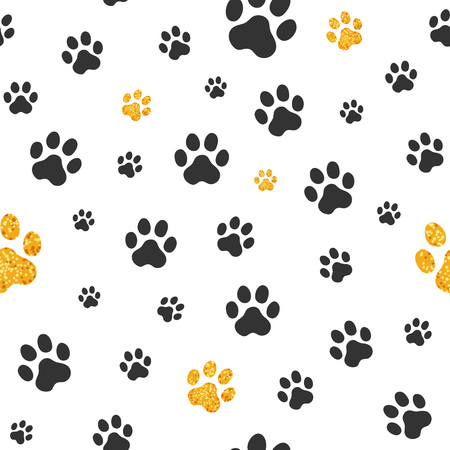 Black and gold paw print in repetitive pattern. Banco de Imagens - 90231012