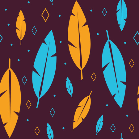 Orange and blue feathers with dots and diamonds on a brown background. Seamless repeating pattern. Stok Fotoğraf