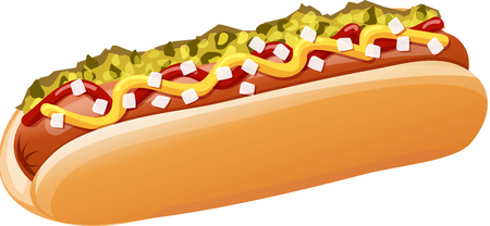 Classic Hot Dog with Ketchup, Mustard, Pickle Relish, and Onions. Isolated vector illustration.