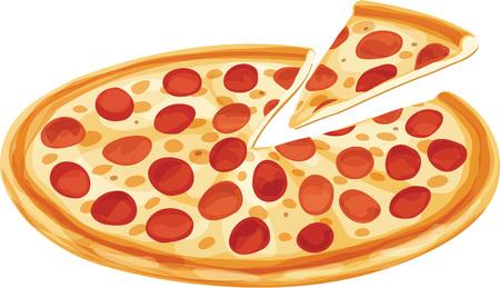 Pizza de pepperoni clásica con rebanada aislada. Ilustración de vector aislado