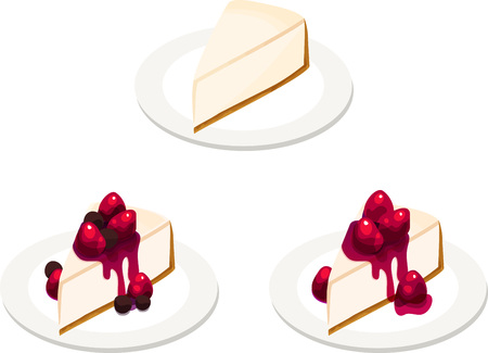 Fancy Plain, Berry, Strawberry Cheesecake Slices Illustration