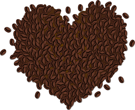 Heart-shaped pile of coffee beans. Isolated vector illustration. Çizim