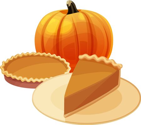 Pumpkin pie slice with whole pie and pumpkin in background. Isolated vector illustration. Ilustração