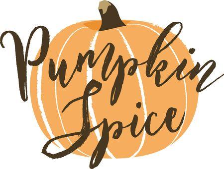 Pumpkin Illustration with Pumpkin Spice Script Lettering Ilustração