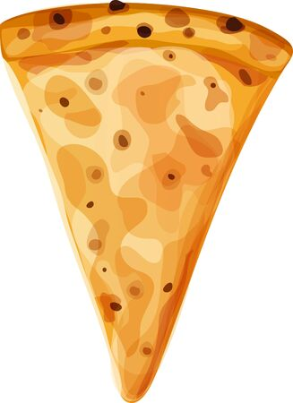 Single slice of cheese pizza. Vertical orientation. Isolated vector illustration on white background.