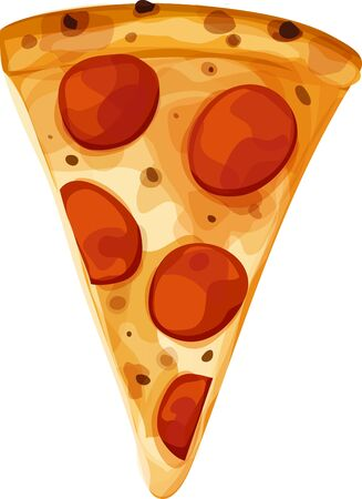 Single slice of pepperoni pizza. Vertical orientation. Isolated vector illustration on a white background. Banco de Imagens - 133343455