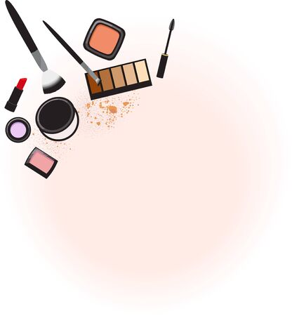 Various makeup products in flatlay arrangement on a soft pink and white background.