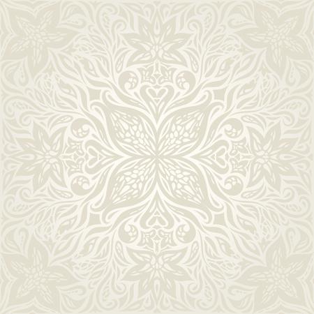 Wedding Floral decorative vintage Background Ecru Bege pale Flowers wallpaper pattern mandala design