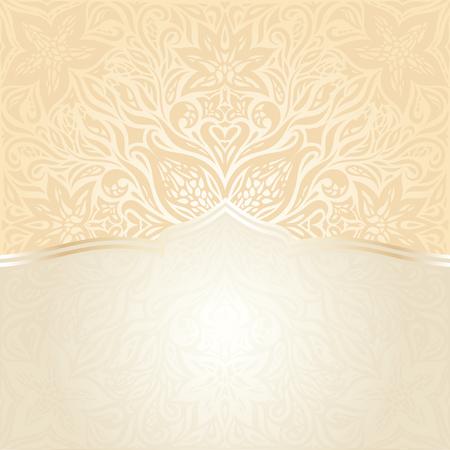 Floral Retro wedding pale peach background mandala design with gold copy space Vetores