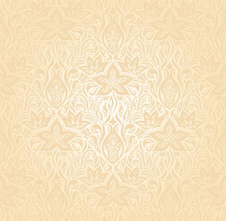 Floral Retro wedding pale peach wedding background mandala design invitation  in trendy fashion vintage style Illusztráció