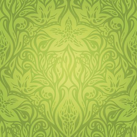 Green Floral Retro vintage wallpaper vector design background Ilustração