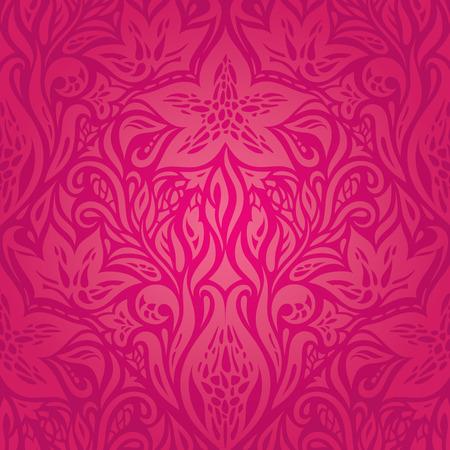 Christmas Retro floral red vector pattern wallpaper design template Illusztráció