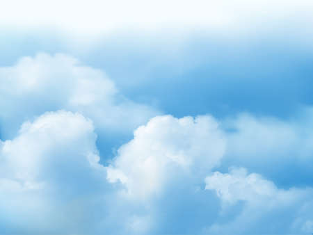 Clear blue sky and white cloud detail in background with copy space. Sky Nature Landscape Background.The summer heaven with colorful clearing sky. Vector illustration. Good weather and beautiful nature. Vektoros illusztráció