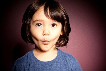 bi racial: A cute, bi-racial toddler boy is shocked and surprised.