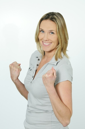 succes: succes blond happy woman Stock Photo