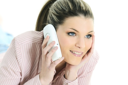 inddor: beauty woman at home is calling Stock Photo