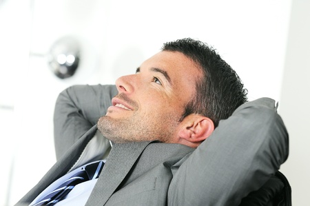 Attractive businessman is taking break from business Stock Photo - 9530139