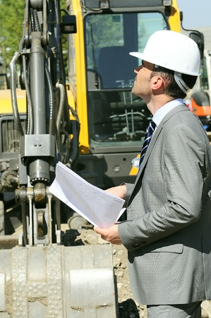 man wearing a helmet, manager, architect Stock Photo - 9530148