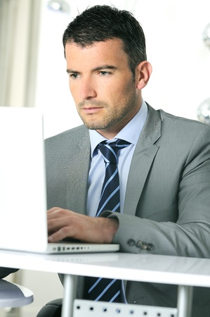 An attractive business man is working on computer photo