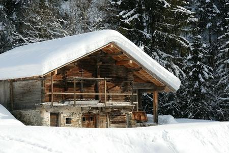 dolomites: chalet under the snow  Stock Photo