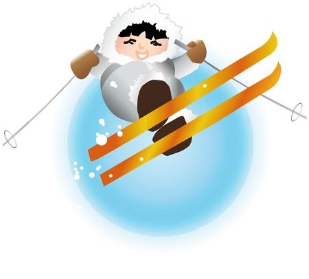 Young boy eskimo on skis vector illustration Vector