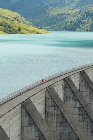 barrage: Lake and barrage named Roselend, French Savoy, Alps.