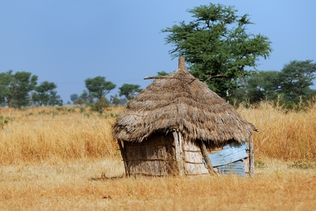 Cob cottage with thatched straw roof in African desert village, Africa. photo