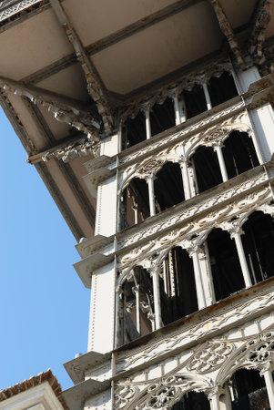 justa: Santa Justa Lisbon city  elevator, Portugal, architectural detail