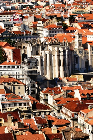Bird view of central Lisbon with colorful houses and orange roofs photo