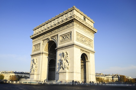 Arc de Triomphe:  Arch of Triumph on the Charles De Gaulle square. Paris, France