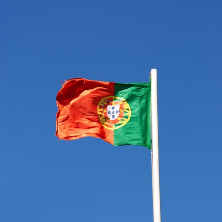 The flag of Portugal on Pole photo