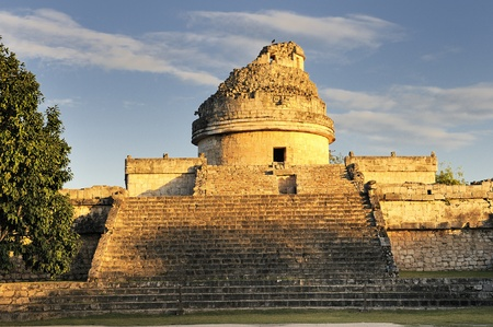 intriguing: The observatory at Chichen Itza, mexoco, Yucatan Editorial
