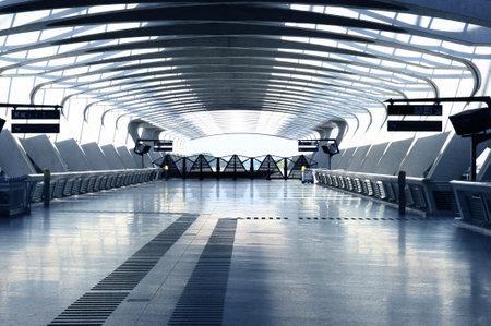 bright center: Modern international train and airport terminal
