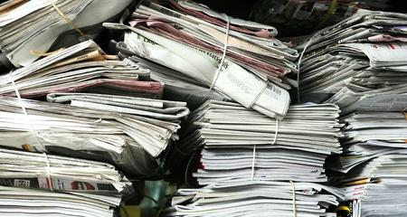 financial newspaper: newspaper stack  Stock Photo