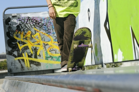 Skateboarder on a Ramp Stock Photo