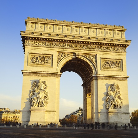 Arc de Triomphe: Arch of Triumph on the Etoile place square. Paris, France