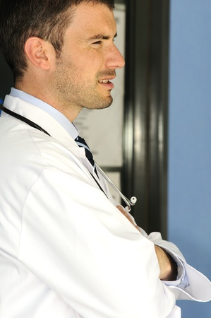 portrait of doctor in front an entrance of the hospital Stock Photo - 12148969