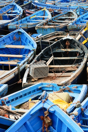 skiff: Moroccan Blue fishing boats in Essaouira Stock Photo
