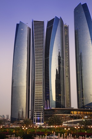 Skyscrapers in Abu Dhabi at dusk, United Arab Emirates Stock Photo - 12532205